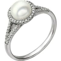 Genuine Pearl and Diamond Ring in 14kt White Gold, June Birthstone