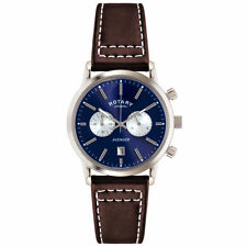 Men's Rotary Genuine Leather Strap Wristwatches