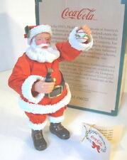 """COCA COLA SANTA FIGURE Coke Bottle & Ornament 7"""" Fabric Mache Willitts 1989 NOS"""