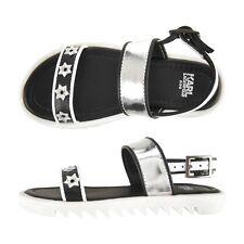 Karl Lagerfeld Kids Black Silver Leather Sandals Girls Sz 36 UK 3
