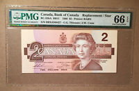 Canada BC-55bA 1986 $2 Thiessen | Crow Replacement / Star PMG 66 EPQ - S/N BBX