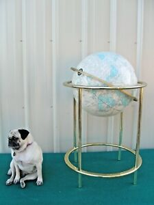 "Large Vintage Cram's 16"" Imperial World Globe with Brass Metal Floor Stand"