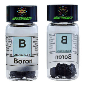 Boron Element 5 Sample Crystals 0.5 grams 99,99% in labeled glass vial