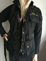 BARBOUR INTERNATIONAL WOMENS SMALL 10 ( 34-36) SHORT BLACK JACKET COAT ANORAK