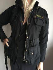 BARBOUR INTERNATIONAL WOMENS SMALL 10 ( 34-36) SHORT BLACK JACKET COAT ANORAK
