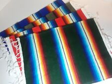 SLIGHTLY IMPERFECT Mexican Serape Style Cloth Placemats Southwest Set of 8 Mixed