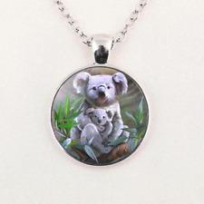 Necklace Pendant Unisex Jewelry Gifts Charm Koala Glass Cabochon Silver