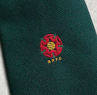 B.R.F.C. TIE RUGBY FOOTBALL CLUB VINTAGE 1960S 1970s DARK GREEN RED ROSE SHARPS