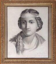 ECOLE FRANCAISE du XIXe.Portrait de jeune femme.Mine de plomb.SBD.35x28.Cadre.