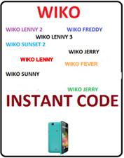 Unlock Code WIKO Sunset 2 Wiko LENNY 2 & 3 Wiko Freddy Wiko Jerry Wiko Fever