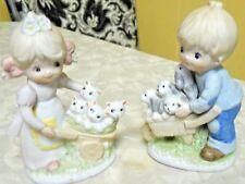 Homco Boy & Girl Pushing Wheelbarrows filled w/ Kitten & Puppies Figurines #1402