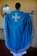 Orthodox priest vestments set blue fully embroidered