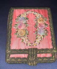 Sweet Antique French Embroidered Sewing Etui 3D Silk Roses Metallic Trim Thread