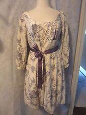 Yoana Baraschi 3/4 Sleeve Dress Silk Ribbon Waist Dress SZ 12 Large Ivory