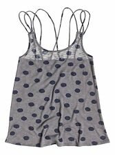 Roxy Sierra Polka Dot Gray & Blue Woman Tank Top T-Shirt Size Small
