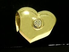 Bd054 - GENUINE 9ct SOLID Yellow Gold Natural Diamond HEART Bead Charm