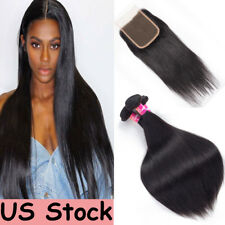 Brazilian Straight Hair 3 Bundles With Part Closure 100 Virgin Human