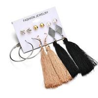 Fashion Crystal Pearl Tassel Dangle Drop Ear Stud Earrings Women Boho Jewelry