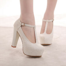 "4.5"" heel white ivory lace crystal pearls Wedding shoes pumps bride size 5-10"