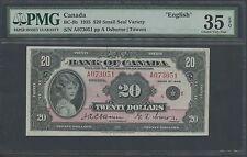 "CANADA #BC-9b 1935 $20 SMALL SEAL ""ENGLISH"" OSBORNE/TOWERS PMG 35 EPQ WL9982"