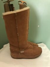 Womens FITFLOP Tall Chestbut Brown Sheepskin Shearling Lined Winter Boots sz 9