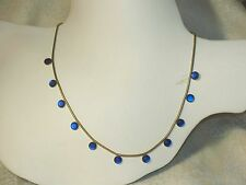 Vintage BLUE MOONGLOW Glass NECKLACE Sapphire - color Moon glow