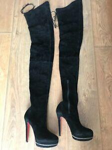 Christian Louboutin Unique 140 Black Velours Boots Size EU 38.5 US 8.5