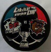 1999 CALDER CUP ALBANY RIVER RATS VS HAMILTON BULLDOGS RARE VEGUM OFFICIAL PUCK