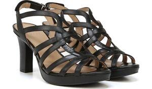 Naturalizer Flora Heel Sandal Black Leather