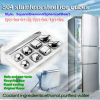 4/6/8X STAINLESS STEEL ICE CUBE STONE WHISKY WINE COOLER COOLING TOOLS WITH TONG