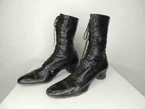Antique Victorian Edwardian Women's High Top Leather Shoes