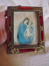ancien petit cadre photo laiton doré repoussé velours soie religieux XIXe 3