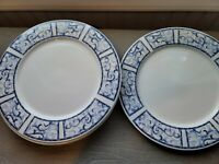 Breton Blue by Oneida Dinner Plates 10 1/2 in Set of 4 Blue White Scroll