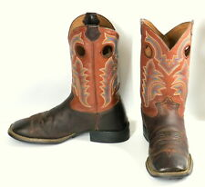 Tony Lama Cowboy Boots 3R Two Tone Brown Leather Mens Size 9 D Square Toe Shoes