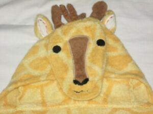 "Pottery Barn Hooded Kids Beach Bath Towel Wrap Giraffe with hood 52"" x 26"""