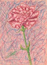 PINK CARNATiON Still Life Figure Pink Green Pastel Pencil Original Art Drawing