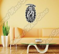 Reaper Death Hooded Skeleton Scythe Hell Wall Sticker Room Interior Decor 16X25""