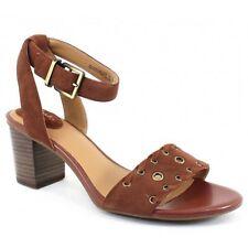 CLARKS Ladies RALENE SHEEN Sandals w/Stacked Heel DARK TAN SUEDE Sz. 9.5 M  NIB