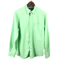Nautica Mens Button Shirt Size M Solid Green Long Sleeve Contrast Cuff Cotton