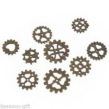 9PCs Vintage Bronze Steampunk Cyberpunk Jewellery Cogs Gears Watch Parts Craft