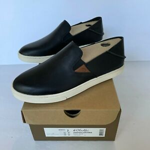 OluKai Pehuea Leather Black Slip On Shoes NEW in BOX Women's Size 7