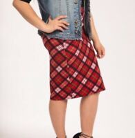 Agnes and Dora Red Plaid Twist Pencil Skirt Womens sz M NWT