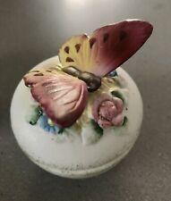 Porcelain Trinket Boxes (3) Butterfly, Seashells, Pansies