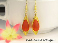 SEA GLASS Teardrop Orange Weave Wire GOLD Dangle Earrings USA HANDMADE
