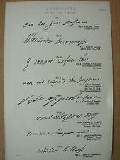 Antico 1880 Vittoriano stampa autografi del 17th Secolo