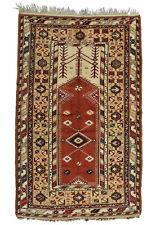 Vintage Turkish Milas Prayer Rug, 5'x7', Red/Beige, Hand-Knotted Wool Pile