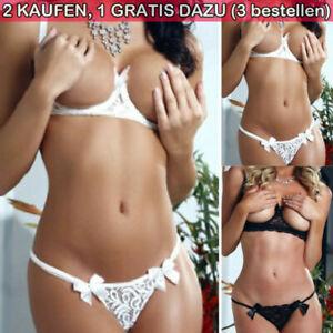 Damen Frau Hebe BH Set Schritt Brust offen push up Dessous G-String Unterwäsche