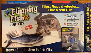 Flippity Fish By JML_Cat Toy_Interactive USB Rechargeable_ Fishing Pole Toy