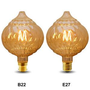 Vintage LED 4W Edison Style Twisted Globe G125 Filament Light Bulb B22 or E27