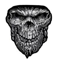 """White Tribal Skull Embroidered 6"""" Biker Patch Iron or Sew HLPM10767"""